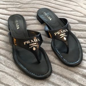 Prada Black Leather Sandals